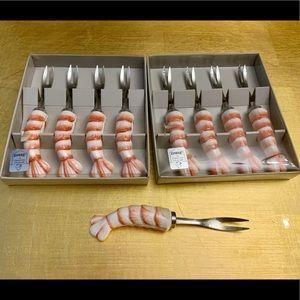 NIB 2 boxed set shrimp forks